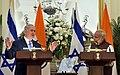 The Prime Minister, Shri Narendra Modi and the Prime Minister of Israel, Mr. Benjamin Netanyahu during Press Statement, at Hyderabad House, in New Delhi on January 15, 2018 (3).jpg
