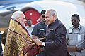 The Prime Minister, Shri Narendra Modi being received by the Governor of Tamil Nadu, Shri Banwarilal Purohit, on his arrival, in Chennai on February 24, 2018.jpg