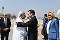 The Prime Minister, Shri Narendra Modi receiving the President of the French Republic, Mr. Emmanuel Macron, on his arrival, at Varanasi, Uttar Pradesh on March 12, 2018 (1).jpg