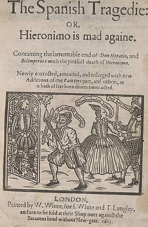 Thomas Kyd - Title page of Kyd's The Spanish Tragedy, with a woodcut showing (left) the hung body of Horatio discovered by (centre) Hieronymo; and Bel-imperia being taken from the scene by a blackface Lorenzo (right).