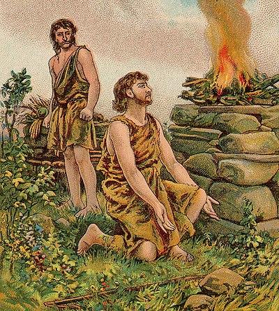 Kain och Abel offrar till Gud, men Kains brännoffer misslyckas