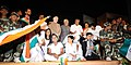 The Vice President, Shri M. Hamid Ansari with the disabled children who gave performance of MPower programme under 'Anuyatra' campaign of Government of Kerala, in Thiruvananthapuram, Kerala.jpg