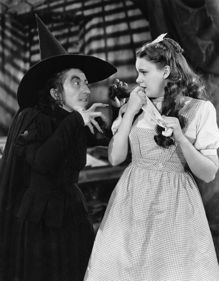 Hamilton as the Wicked Witch of the West with Judy Garland as Dorothy Gale in The Wizard of Oz (1939) The Wizard of Oz Margaret Hamilton Judy Garland 1939.jpg