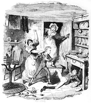 Mr. Sowerberry - Oliver in Sowerberry's shop, by George Cruikshank.