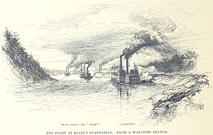 Battle of Blair's Landing - The Union gunboats engage the Confederates