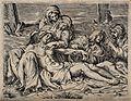 The four holy women lament over the dead Christ. Line engrav Wellcome V0034795.jpg