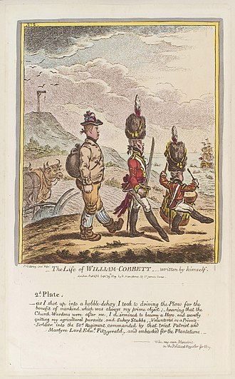 William Cobbett - Cartoon of Cobbett enlisting in the army. From the Political Register of 1809. Artist James Gillray.