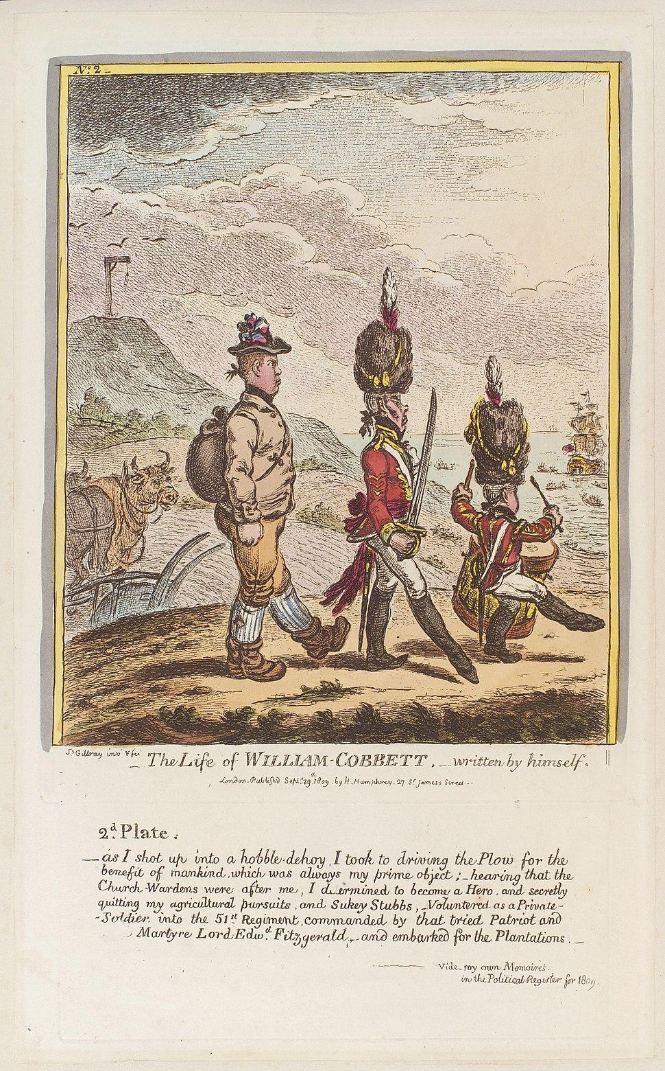 The life of William Cobbett - written by himself. No 2' (William Cobbett) by James Gillray
