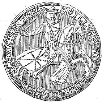 Theobald II of Navarre - Royal seal depicting Theobald II