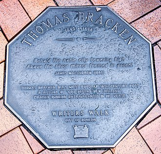Thomas Bracken - Image: Thomas Bracken memorial plaque in Dunedin