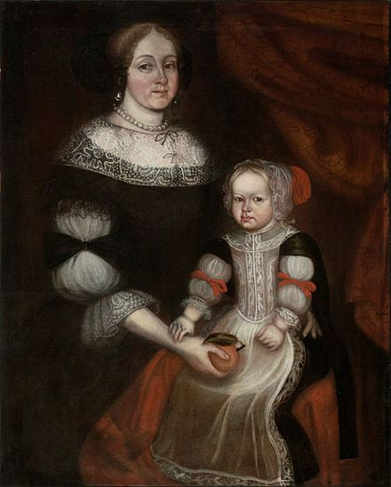 Attributed to Thomas Smith, Mrs. Richard Patteshall (Martha Woody) and Child (1679). Museum of Fine Arts, Boston Thomas Smith (attrib.) - Mrs. Richard Patteshall and child (1679).jpg