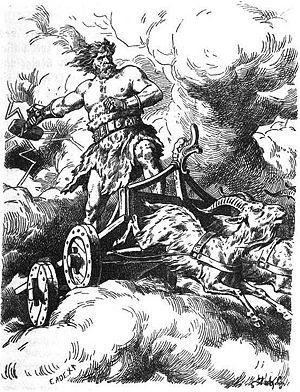 Tanngrisnir and Tanngnjóstr - Thor (1910) by Johannes Gehrts