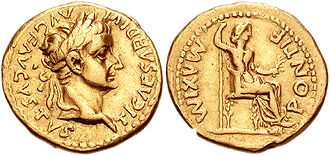 Roman aureus depicting Tiberius, with Livia as Pax shown on the reverse. Struck in AD 36.