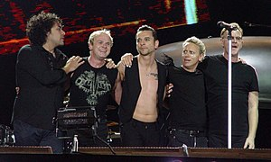 Depeche Mode performing in 2006. From left to right: Peter Gordeno, Christian Eigner, Dave Gahan, Martin Gore and Andy Fletcher