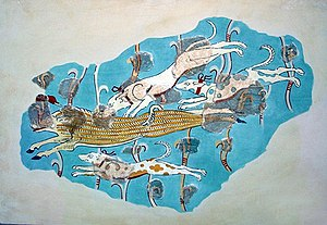 Tiryns - Fresco with a representation of a wild boar hunt. From the later Tiryns palace.