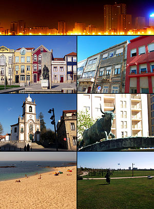 Clockwise from top: اگرو-ولهو، Rua Santos Minho، Touro, the City Park، Lagoa Beach، Senhora das Dores Church, and Praça do Almada.