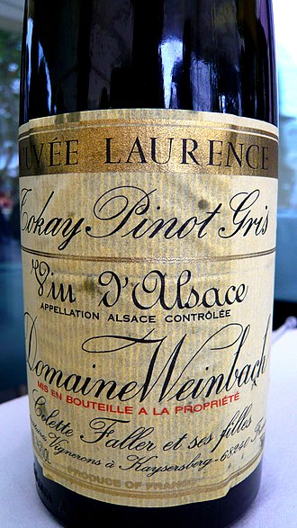 Alsace wine - A 2000 vintage Alsace wine labelled Tokay Pinot gris.