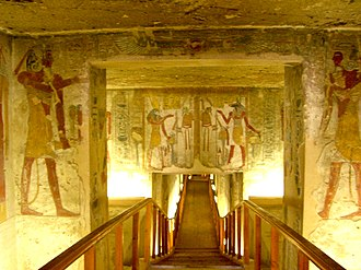 Valley of the Kings - The tomb of Twosret and Setnakhte showing descending corridor