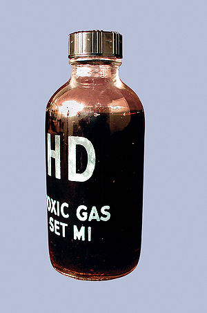 "Chemical Agent Identification Set - A typical glass bottle from a type of CAIS known as a ""toxic gas set"". This one contains sulfur mustard (HD)."