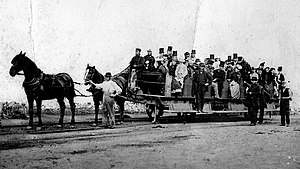 Swansea and Mumbles Railway - Horse-drawn tram on the Swansea and Mumbles Railway, 1897