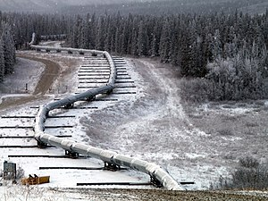 Construction of the Trans-Alaska Pipeline System - Pipeline on slider supports where it crosses the Denali Fault.