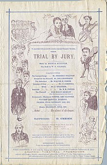 A page of the theatre programme showing, in a box at the centre, the cast and credits of Trial by Jury. It is bordered with illustrations of the action, with, at the top, Angelina embracing the Judge with a manipulative expression, while he appears to be in a quandry.