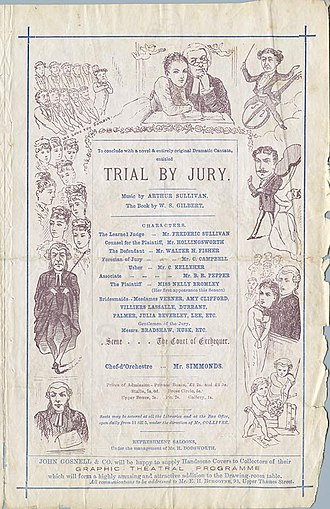 Trial by Jury - Third page of the 1875 programme
