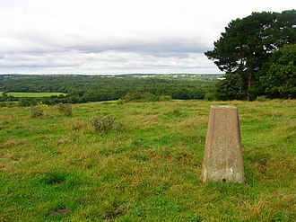 Briddlesford Copses - Trig point on the hill north of Havenstreet, looking in a south westerly direction towards Briddlesford Copse