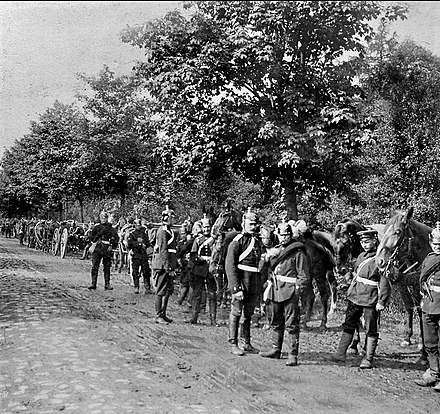 Column of Prussian field artillery by the side of a road at Torcy in September 1870 Troupes allemandes a Torcy en septembre 1870.jpg