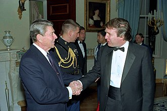 Donald Trump presidential campaign, 2000 - Donald Trump with President Ronald Reagan in 1987, when Trump first considered running for president.