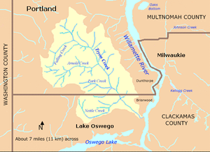 The Tryon Creek watershed, shaped roughly like a leaf tapering to a stem at the mouth on the Willamette River, lies mostly in Portland and Multnomah County and partly in the city of Lake Oswego and Clackamas County. Oswego Lake is to the south, and the Willamette River is to the east. The city of Milwaukie is also to the east, on the far side of the river. The larger tributaries, Nettle Creek, Park Creek, Arnold Creek, and Falling Creek, flow roughly west to east before entering the creek.