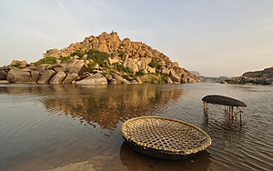 Tungabhadra River - Two coracles in the river