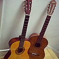 Two acoustic guitars leaning against a wall.jpg