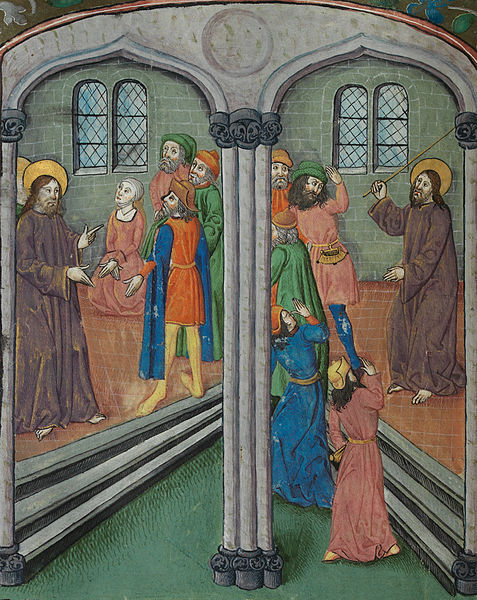 File:Two scenes in the Temple Christ, the woman taken in adultery, and Pharisees, Christ drives out the money-changers (f. 20v) Cropped.jpg