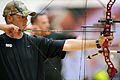 U.S. Army Cpl. Travis Akin lines up a shot while competing in the compound category of the archery competition at the Warrior Games May 12, 2010, at the Olympic training center in Colorado Springs, Colo 100512-F-KR851-011.jpg
