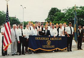 Ukrainian American Veterans gather after raising a POW-MIA Flag at the Providence Association of Ukrainian Catholics in Philadelphia, Pa. Photo Credit: George A. Miziuk