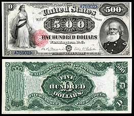 In 1880, the $500 United States Note featured a portrait of General Mansfield, killed in the Battle of Antietam of the American Civil War.