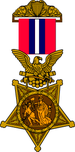 1896 version of the Medal of Honor with a golden five pointed star being clutched in the claws of an eagle. The eagle is suspended from a red and white striped ribbon