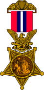 1896 version of the Medal of Honor with a golden five pointed star being clutched in the claws of an eagle. The eagle is suspended from a red and white striped ribbon.