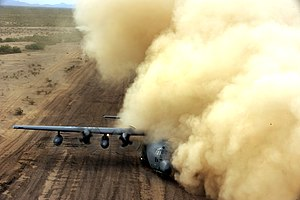 Brownout (aeronautics) - A HC-130 Hercules gets a brownout on a dirt airstrip near Davis-Monthan AFB
