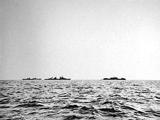 USS Houston (CA-30) - USS Houston escorting the Timor convoy in February 1942.