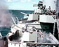 USS New Jersey (BB-62) 40 mm guns firing.jpeg