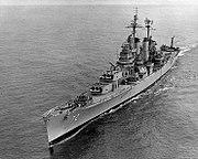 USS Pittsburgh (CA-72) underway on 11 October 1955 (NH 98248)