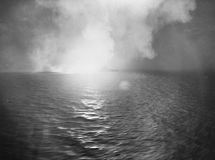 USS West Virginia firing on the Japanese fleet USS West Virginia (BB-48) firing during the Battle of Surigao Strait in October 1944.jpg