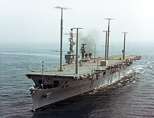 USS Wright (CC-2) underway at sea on 25 September 1963 (KN-5885)
