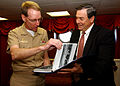US Navy 041102-N-7130B-009 Chairman of the House Armed Services Committee, Rep. Duncan Hunter of California, presents Commanding Officer, USS Ronald Reagan (CVN 76), Capt. James A. Symonds, with a photograph album.jpg