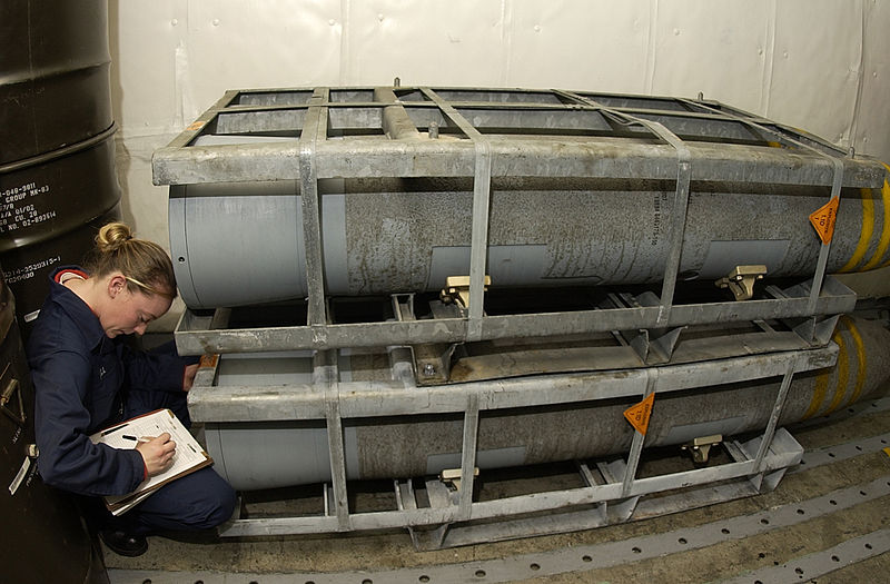 File:US Navy 050119-N-5464G-036 Airman Candice Bell, from West Forks, Maine, catalogs and inventories a palette of BLU-109, 2000-pound penetrator bombs.jpg