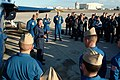 US Navy 050203-N-0962S-204 After receiving a flight in a Blue Angel F-A-18D Hornet, Master Chief Petty Officer of the Navy (MCPON) Terry Scott speaks to the pilots and maintenance team at the Blue Angels' winter training facili.jpg