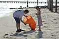 US Navy 060610-N-6639M-013 Personnel Specialist 1st Class William Hamb, assigned to Commander, Amphibious Group Two (COMPHIBGRU-2) picks up trash along the Chesapeake Bay.jpg
