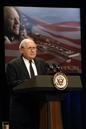 Carl Levin - Senator Levin speaking at an event during the naming of the USS Gerald R. Ford